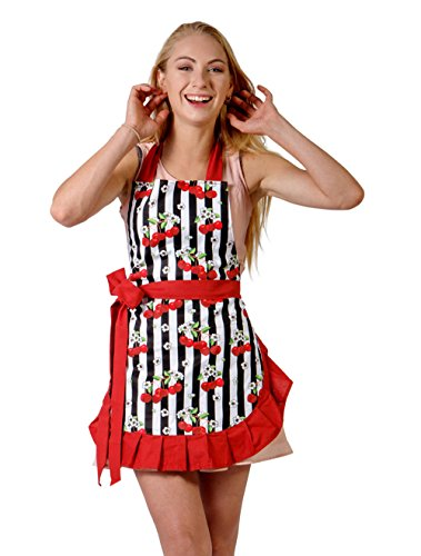 Flirty Cooking Apron for Women with Stylish Sexy and Vintage Look. Great for Gift (Red Trim)