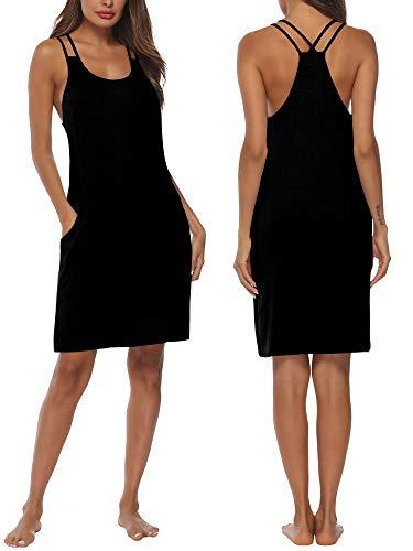DAIKEN Women Nightgown Camisole Sleepwear Sleep Dress Nightgowns Pocket S-XXL Black