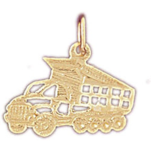 14K Yellow Gold Dump Truck Pendant Necklace - 15 mm