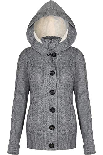 Chunky Hooded Cardigan - BodiLove Women's Chunky Cable Knit Sweater Cardigans with Buttons & Sherpa Hoodie Heather Gray S
