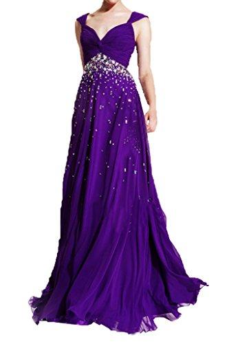 Prom Style V-ausschnitt Strass Chiffon Abendkleider Ballkleider Festkleider lang Partykleider Formellkleider A-linie