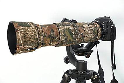 Nikon 200 500mm f5.6 ED VR Neopreno Camuflaje Cubierta de lente estándar /& rangos de primera calidad