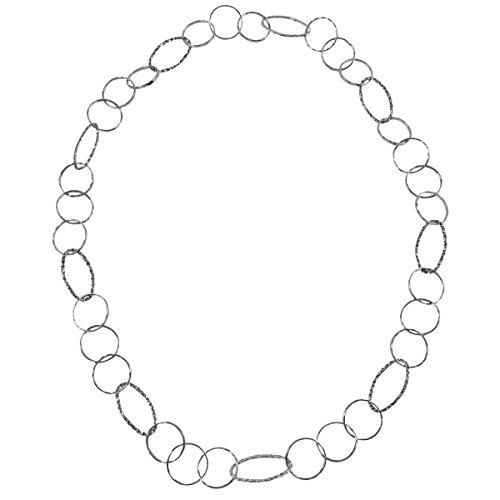Silver Tone Long Oval and Circle Link Chain Necklace