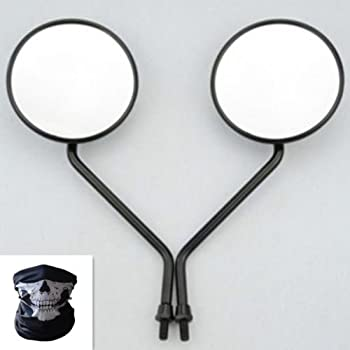 BADASS SHARKS Round Rearview Side Mirrors For Motorcycle Scooter ATV 10mm Thread Custom (Black)