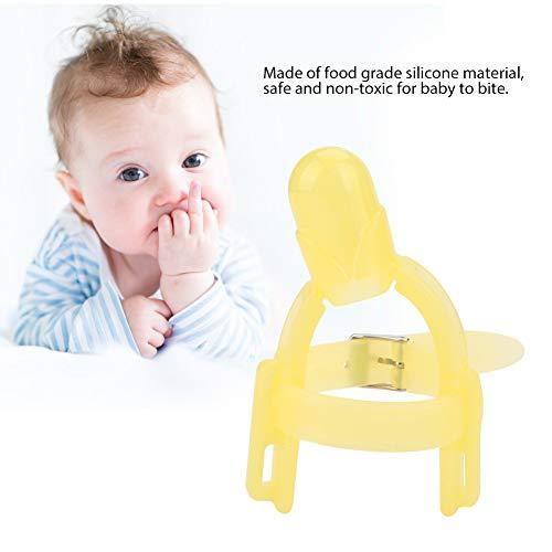 BORDSTRACT Adjustable Thumb Sucking Finger Protector, Baby Silicone Finger Protector Thumb Sucking Stop to Prevent Thumbsucking for Infant Kids Finger Guard (Yellow)