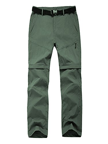 4 Season Pants - Women's Water-Resistant Quick Drying Outdoor Sports Climbing Hiking Convertible Pants Army Green Tag L-US 4
