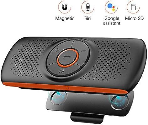 NETVIP Manos Libres Coche Bluetooth 4.2 con Siri y Google Assistant Kit de Coche Altavoz Inalámbrico para Visera Altavoz Inalámbrico Magnético ...
