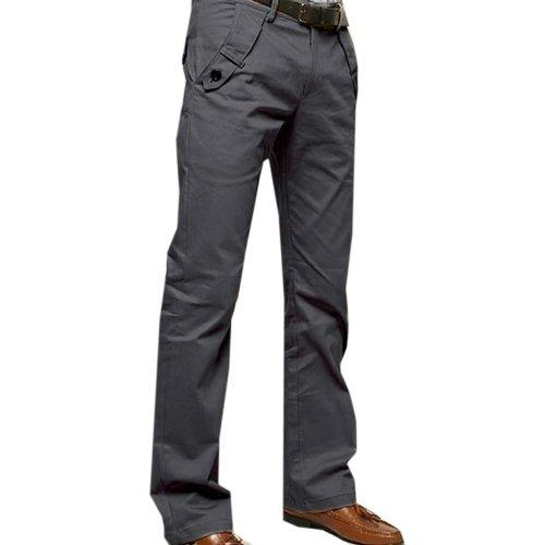 Zeagoo Men's Casual Pants Straight-leg Long Trousers Gray