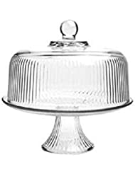 Anchor Hocking 86031L13 Ribbed Dome Cake Set, Crystal