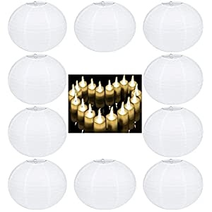 White Round Paper Lanterns with LED Candle Lights 12 Inch, 10 Pack