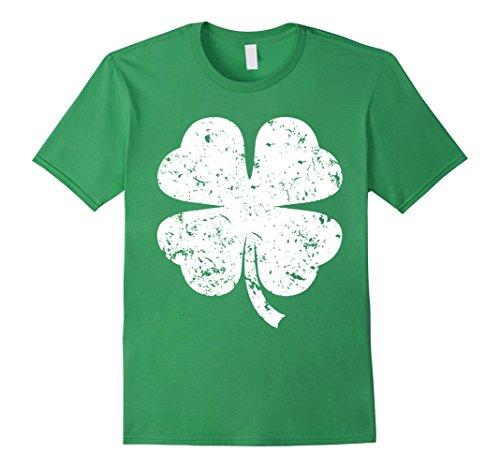Men's Irish St Patricks Day Lucky Green Four Leaf Clover Shirt Large Grass