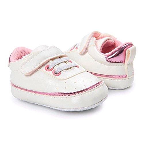Hunpta Kleinkind Baby Bindung Weiche Schuhe Krippe Fußbekleidung Baby Jungen Mädchen beiläufige Schuhe Rosa