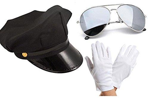 Chauffeur Limo Taxi Driver Hat White Gloves Aviators Fancy Dress Set Posh Cap