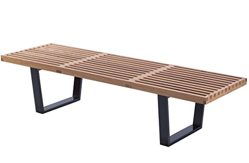 (Mod Made 5 ft. Contemporary Mid Century Modern Platform Natural Wooden Slat Bench, Natural)