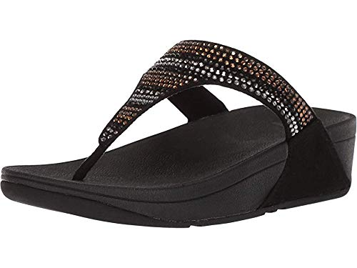 FitFlop Women's Strobe Luxe Toe-Thong Sandals, Black, 6 M -