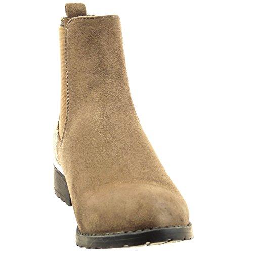 Sopily - Zapatillas de Moda Botines chelsea boots Tobillo mujer piel de serpiente Talón Tacón ancho 3.5 CM - Caqui