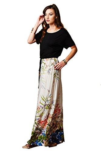 On Trend Short Sleeve Watercolor Florals Drawstring Belt Dress (Large) Blue