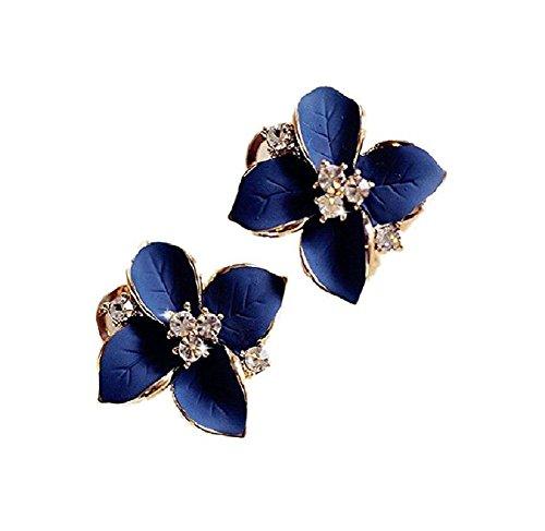 Flowers Rhinestone Stud - CAIYAO Blue flower ladies gold rhinestone earrings piercing clip earrings for women