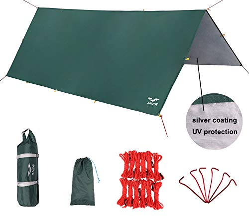 MIER Waterproof Hammock Rain Fly Lightweight Tent Tarp Camping Backpacking Tarp Shelter, 6 Stakes and 12 Ropes Included, Green, XL