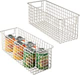 mDesign Set of 2 Wire Storage Baskets - Deep & Flexible Wire Basket - Compact Wire Bin with Handles - Multi-Purpose Metal Basket for Kitchens, Bathrooms and Other Rooms - Matte Silver
