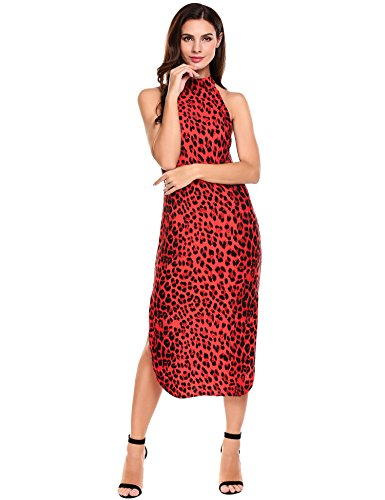 Print Red Dress Slit Casual Side Sleeveless ANGVNS Leopard Cocktail Women's Bodycon q7B8nWvw
