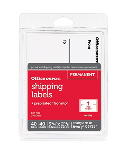 Office Depot White to/from Shipping Label Pad, 3 3/4in. x 2 5/8in, Pack of 40, OD98806
