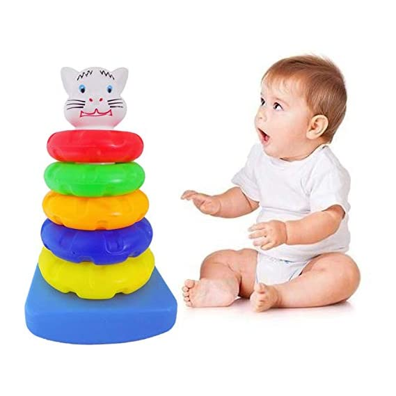 Fully Stacking Ring Game for Kids Boys and Girls Birthday Gift for Babies Multicolor 5 Rings Pack of 1
