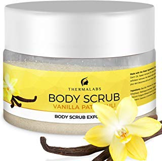 Salt & Oil Based Body Scrub Exfoliator Vanilla Patchouli: Get a Soft Skin With a Divine Scent! Organic & Natural Deep Cleanse, Use Before Self Tanning, Treat Acne, Wrinkles, Ingrown Hair, Blackheads