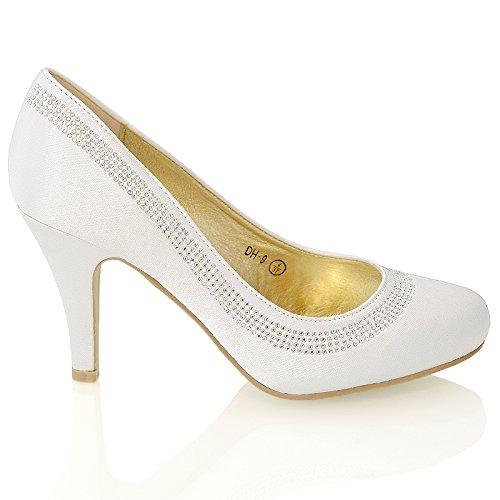 Essex Chaussures De Mariage De La Femme Glam Dames Talon Tribunaux Classiques Diamante Slip De Bal De Noce Sur Les Pompes Taille 3-8 Satin Blanc