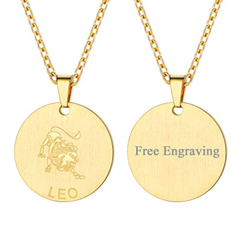 Zodiac Charm Leo Gold - FaithHeart Engraving Astrology 12 Constellation Horoscope Necklace, 18K Gold Plated Leo Zodiac Star Sign Coin Pendant Necklace Birthday Gifts Lucky Charms Layered Necklace (Gold)