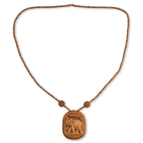 NOVICA Hand Carved Wood Pendant Long Beaded Necklace, 25