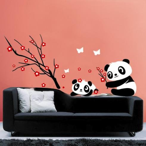 Two Lovely Baby Panda Wall Sticker Home Decoration And Cherry Blossom Tree - Wall Stickers