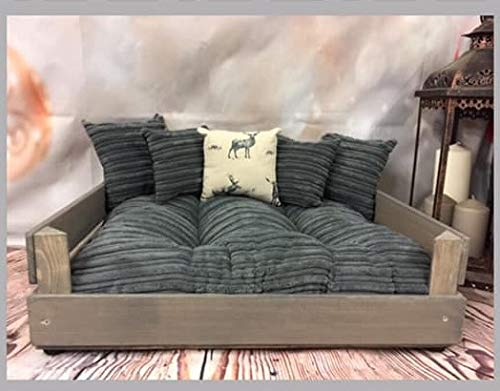 XL PERSONALISED GREY PET BED WITH GREY CORD BED AND CUSHIONS + 1 STAG CUSHION