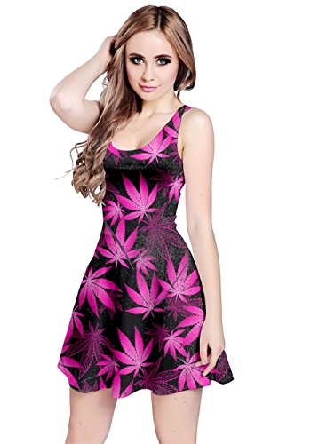 CowCow Womens Dark Pink Cannabis Marijuana Sleeveless Dress, Dark - 5XL