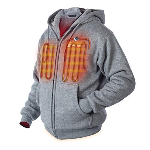 Venture Heat Heated Hoodie with Battery Pack - Electric Sweater Jacket for Men Women, Thick Fleece, Transit 2.0 (L, Gray)