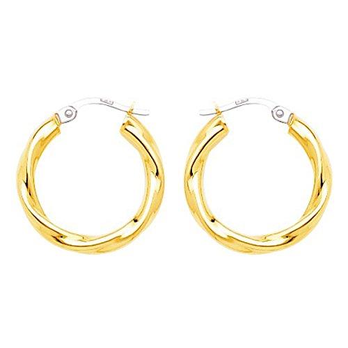 So Chic Bijoux © Boucles d'oreilles Femme Créoles Torsades Légères Diamètre 15 mm Fil 3 mm Or Jaune 750/000 (18 carats)