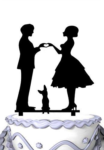 Meijiafei Bride and Groom Hand in Hand with Shepherd Dog Silhouette Wedding Cake Topper