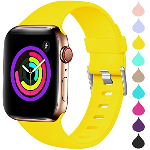 Haveda Sport Band Compatible for Apple Watch 38mm 40mm, Waterproof TPU Bands Wristband for iWatch, Apple Watch Series 4, Series 3, Series 2, Series 1 Women Men, Mango Yellow 42mm/44mm S/M ()