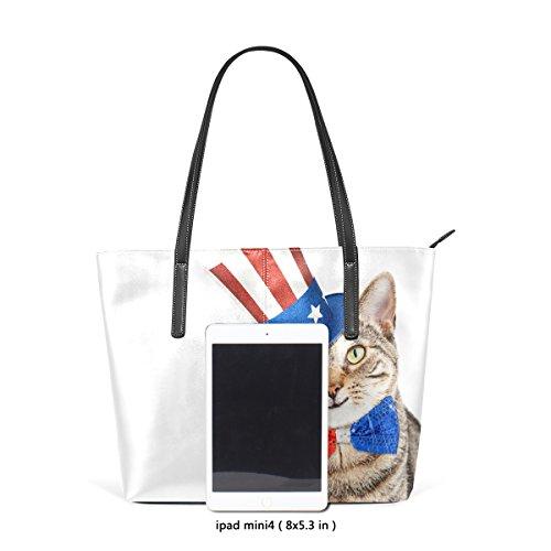 Coosun lustige amerikanische patriotische Katze PU Leder Schultertasche Handtasche und Handtaschen Tasche für Frauen