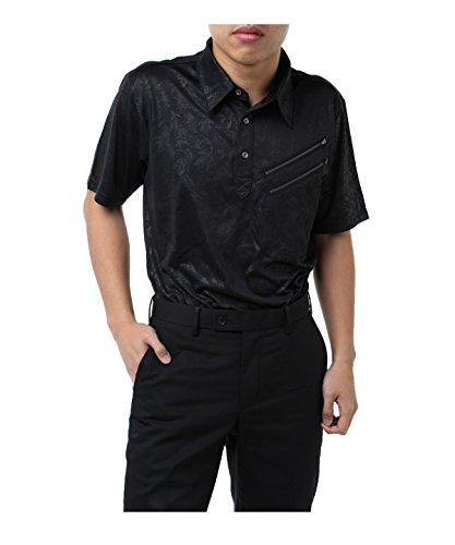 ツアーディビジョン ゴルフウェア ポロシャツ 半袖 ファスナーエンボス半袖シャツ TD220101H10 BK M