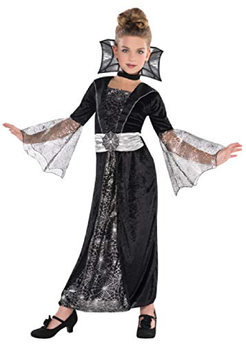 Spider Countess Child Halloween Costume (Girls Long Black Silver Spiderweb Dark Countess Vampire Halloween Fancy Dress Costume Outfit 4-10 Years (4-6)