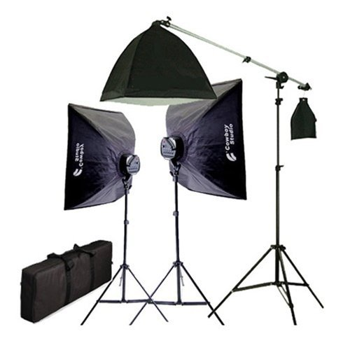 CowboyStudio 2275 Watt Digital Video Continuous Softbox Lighting Kit with Boom and Carrying Case by CowboyStudio
