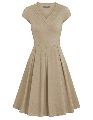 Beige Womens Dress - Miagooo Rockabillty Dress, Women's Cap Sleeve High Fashion Cocktail Dress for Summer(Beige,Medium)