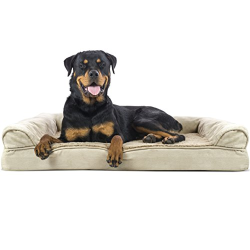 Furhaven Pet – Packable Travel Bed, Plush Orthopedic Sofa, L-Shaped Chaise Couch, & Mid-Century Modern Dog Bed Frame for…