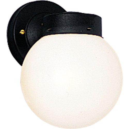 (Progress Lighting P5604-31 Powder-Coated Finish White 6 Inch Glass Globe, Black)