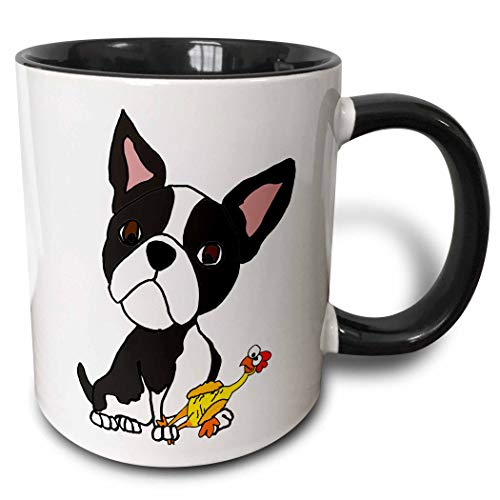 Terrier Boston Ceramic - 3dRose 260973_4 Funny Cute Boston Terrier Puppy Dog with Rubber Chicken Toy