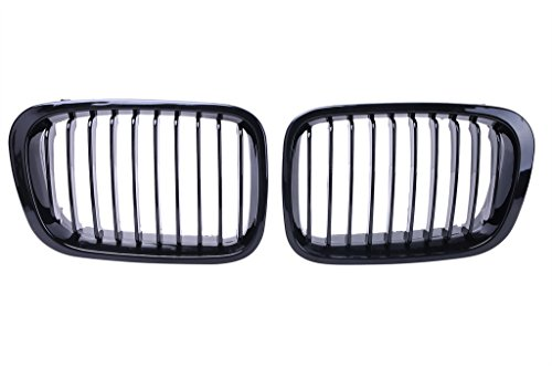 Price comparison product image Jade Onlines 2 Pcs Kidney Front Grille Grill Hood Nose for BMW E46 Sedan 4Dr 1998-2001 Gloss Black
