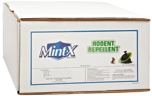 Mint-X 83% Recycled Plastic 44 Gallon Street Tuff Rodent Repellent Trash Bag, 1.7 Mil, Flat Seal, 46