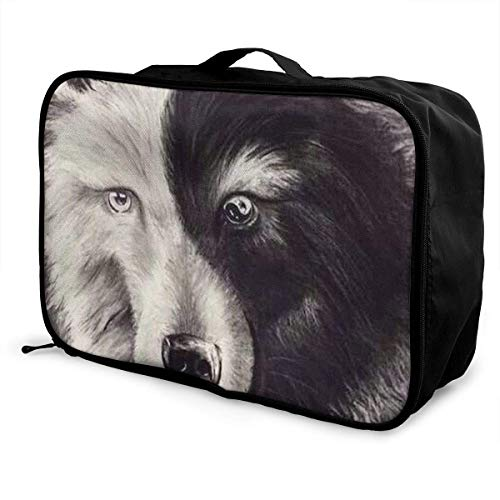 Portable Luggage Duffel Bag Yin Yang Wolf Travel Bags Carry-on In Trolley Handle