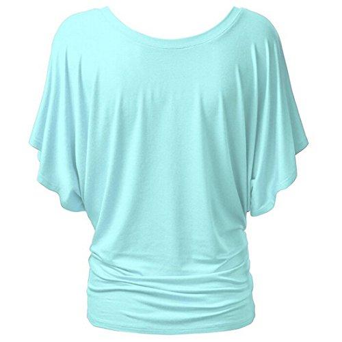 QIYUN.Z Camiseta Manga Mariposa Del Color Sólido De Las Mujeres Camiseta De La Túnica Del Verano Azul Claro